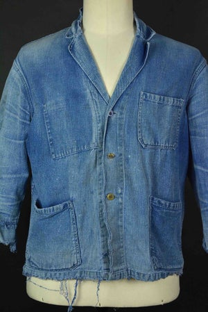 Image of 1940'S AMAZING FADE FRENCH BLUE WORK JACKET DISTESSED