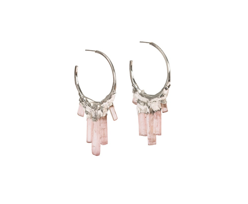 Image of Pink Tourmaline + Sterling Silver Hoops