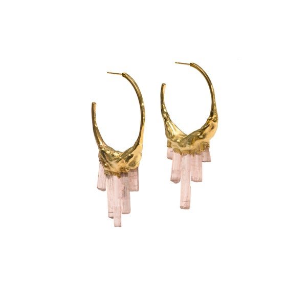 Image of Pink Tourmaline + Yellow Gold Vermeil Hoops