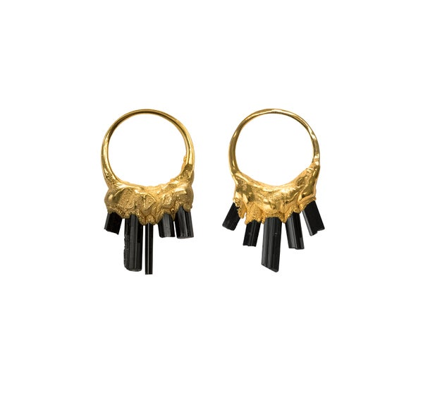 Image of Black Tourmaline + Yellow Gold Vermeil Little 'O' Earrings
