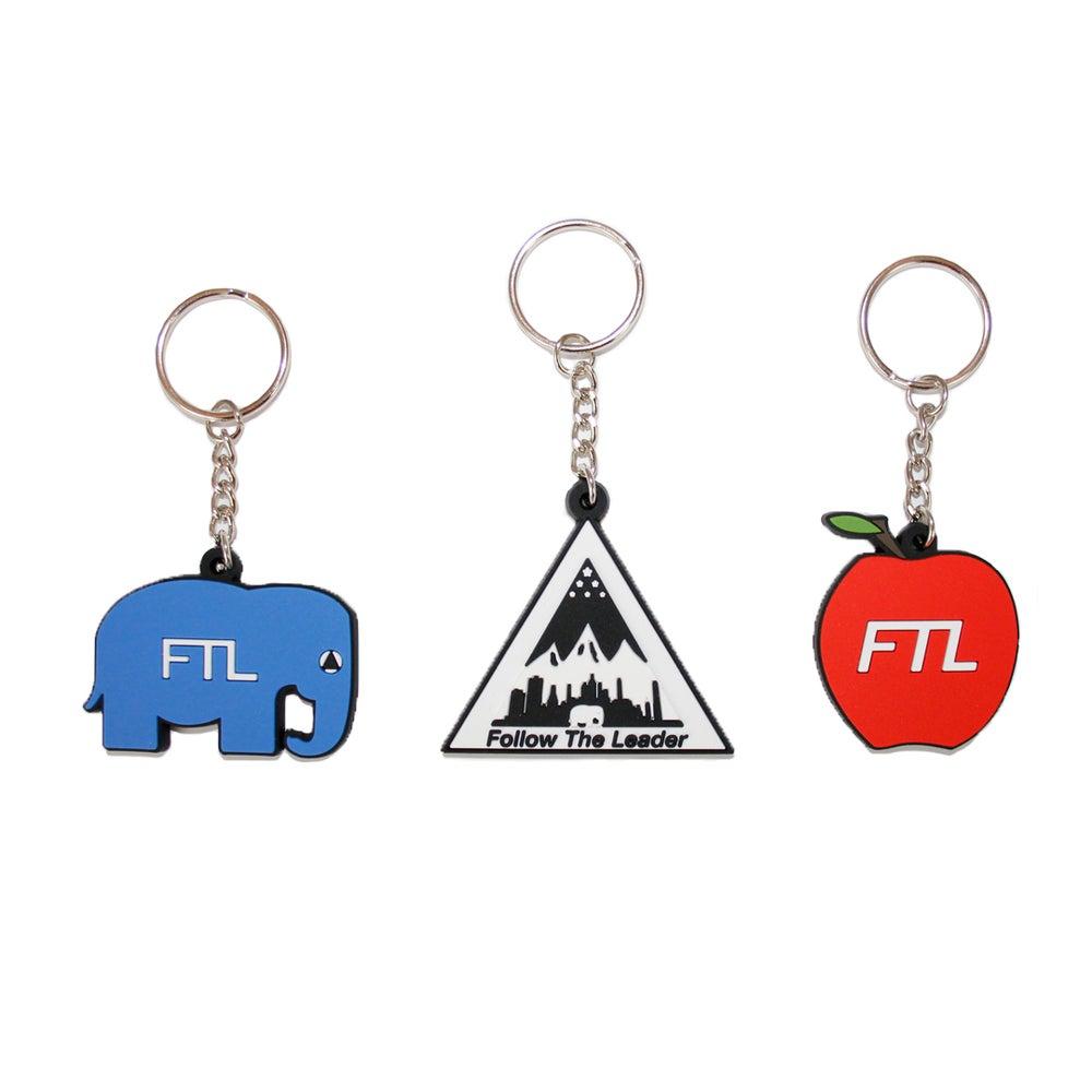 Image of Elephant, Triangle, Apple Keychains