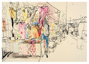 Image of Outside Ka-sh fabric shop, Ridley Road - Greetings Card