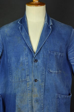 Image of 1940'S AMAZING FADE FRENCH BLUE WORK JACKET DISTESSED 1