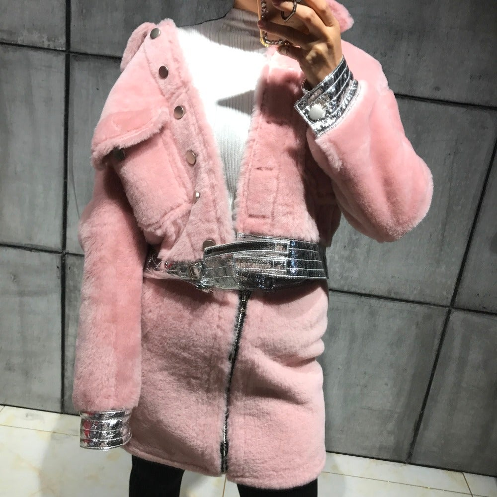 Image of 'JLYNN' LAMB LEATHER SHEARLING COAT (AVAILABLE IN PINK)