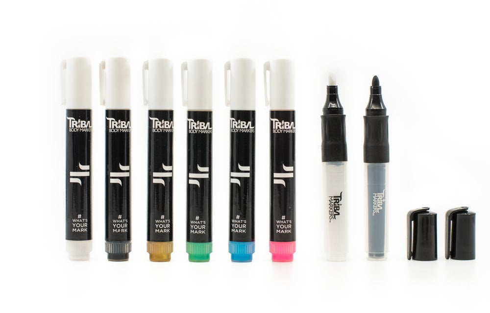 Image of Most Popular colors Gold, White, Black, Blue, Pink, Teal Plus a white & Black Bullet/chisel tip