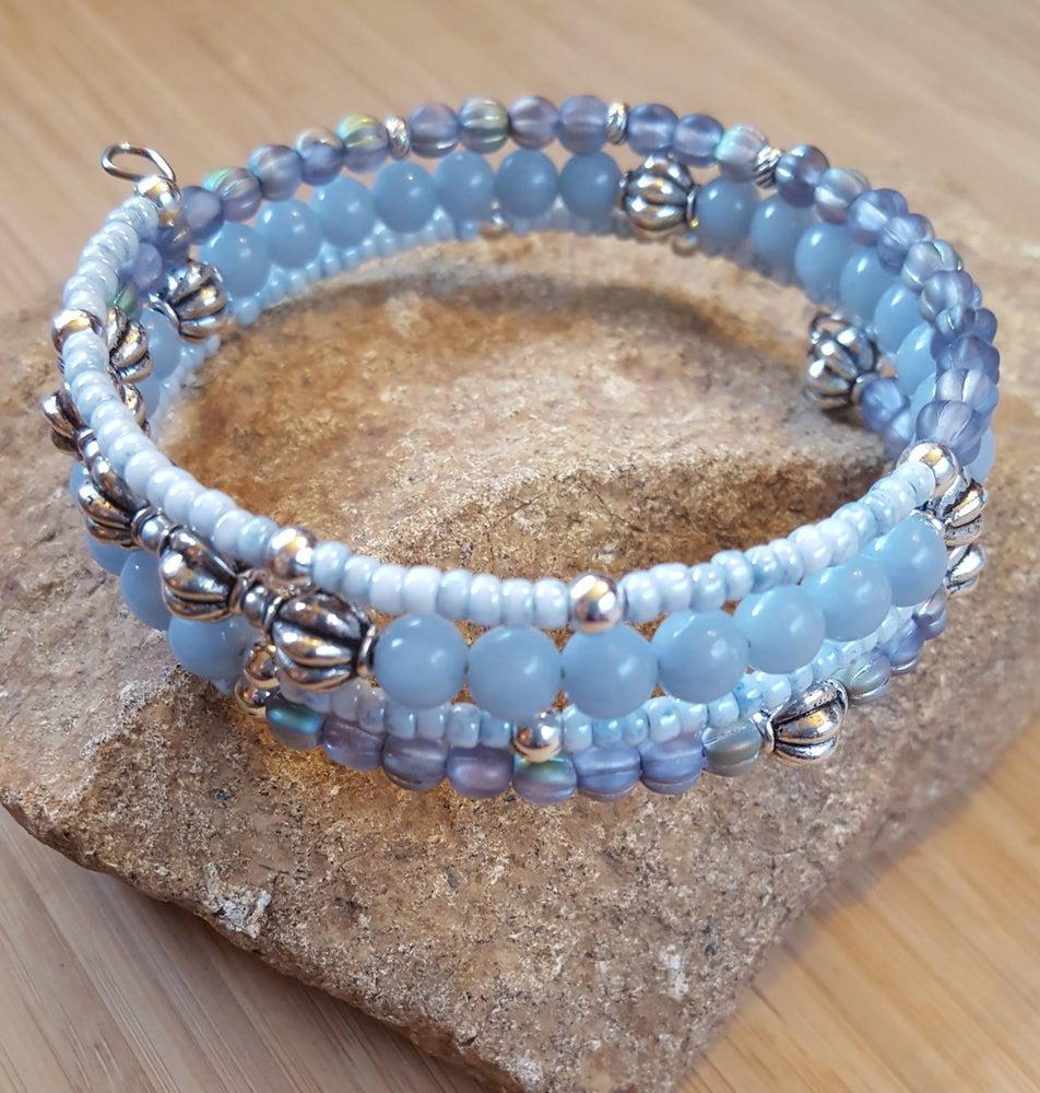 Image of Gemstone Stacking Wrap Bracelet in Light Blue