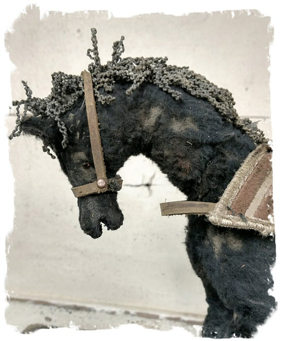 Image of large Antique Style Old Worn Black Horse Pull Toy w/Open Mouth by Whendi's Bears