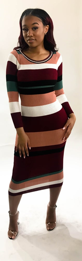 Image of Multi-striped sweater dress