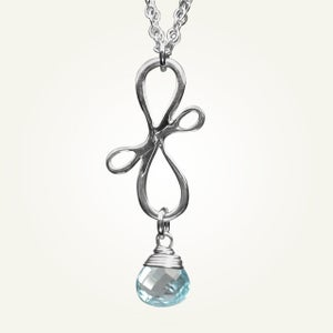 Image of Victorian Ribbon Mini Necklace with Sky Blue Topaz, Sterling Silver
