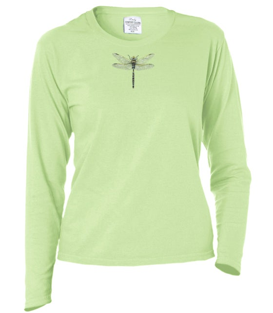 Image of Ladies Dragonfly garment dyed longsleeve t-shirt