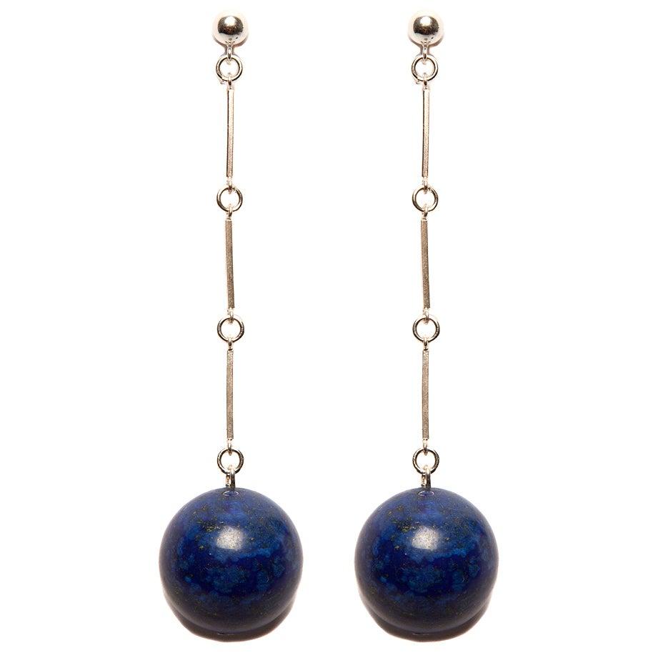"Image of ""CODA"" Large Lapis Lazuli Stone Sterling Silver Earrings"