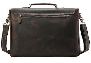 "Image of Men's Extra Large Handmade Vintage Leather Briefcase / 17"" MacBook Pro 16"" Laptop Bag #n14XL"