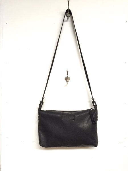 Image of Black Eco Leather Crossbody Bag, Zippered Handbag, Smooth Dufflebag