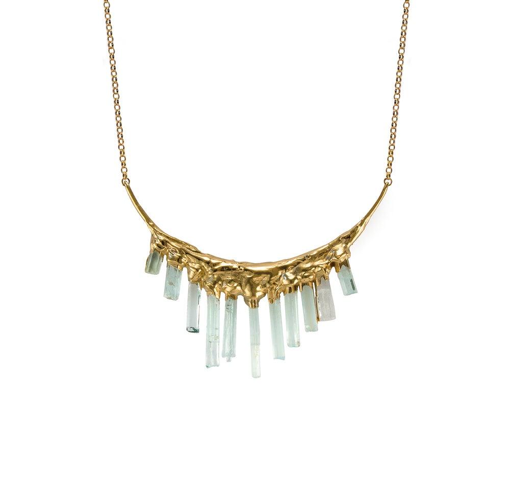 Image of Aquamarine + Yellow Gold Vermeil Necklace