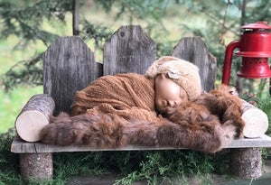 Image of Rustic, Hand Crafted, Newborn, Sitter or Toddler Neighborly Park Bench