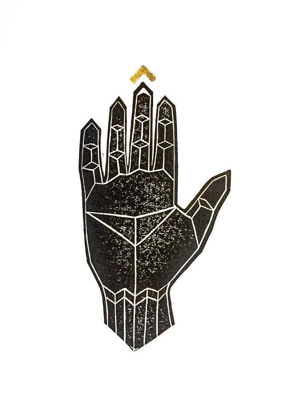 """Image of """"Golden Link"""" - Original Linocut Print with Gold Leaf"""