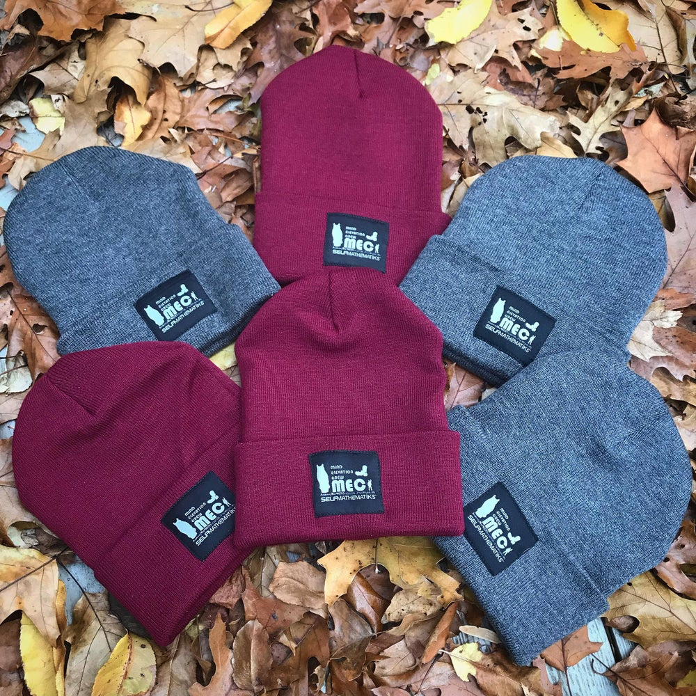 "Image of BURGUNDY & CHARCOAL GREY, THINKIN' CAP"" SKULLY/BEANIE"