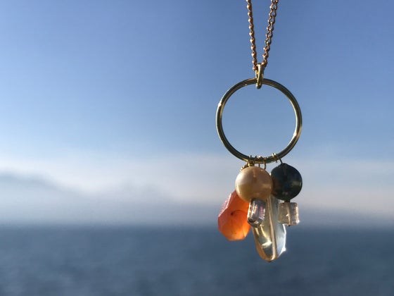Image of Gold, pearls, carnelian, citrine quartz, gold plated ring and chain.