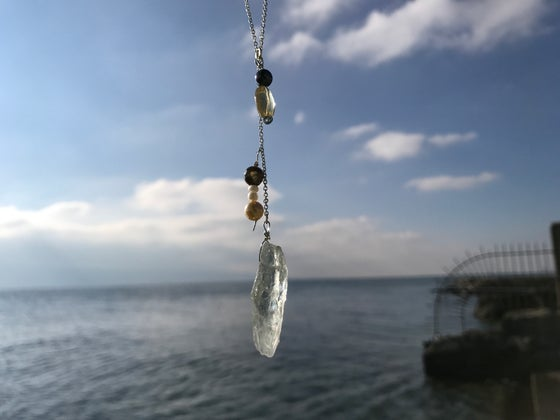 Image of Sterling silver chain with quartz pendant, pearls and citrine quartz beads