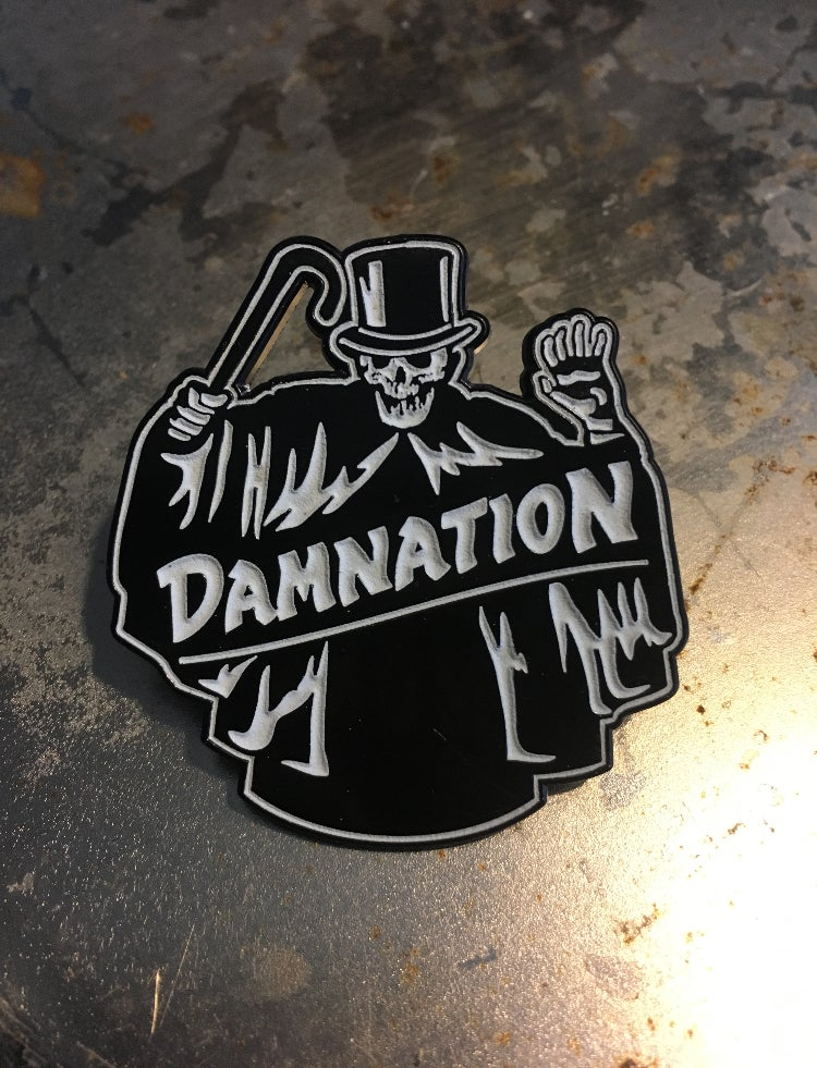 "Image of The ""Shroud"" glow in the dark 1.75"" enamel pin"