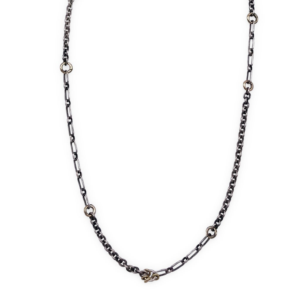 Image of silver jump-ring & mixed-chain necklace  (P157SILGF1822)