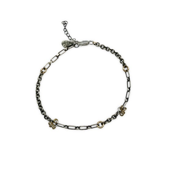 Image of silver jump-ring & mixed-chain bracelet (B27SILGF)