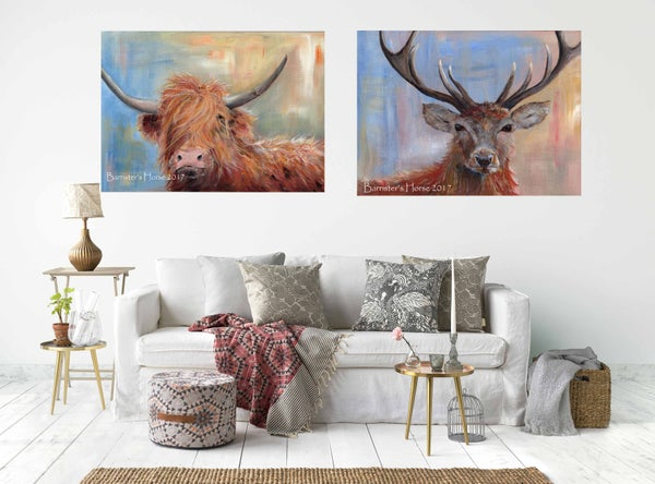 Image of PAIR OF CHUNKY CANVAS WRAPS - HIGHLAND COW & STAG