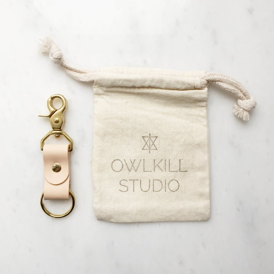 Image of Mini Leather and Brass Key Fob