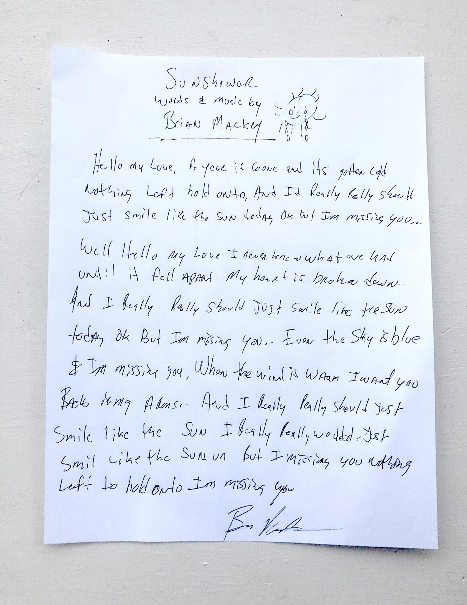 Image of Hand Written Lyrics