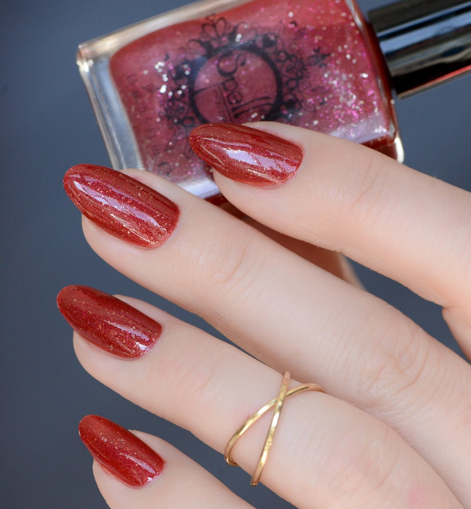 Image of HOLIDAY 2017 ~Poinsettia~ deep red scattered holo with silver flakes & microglitters!