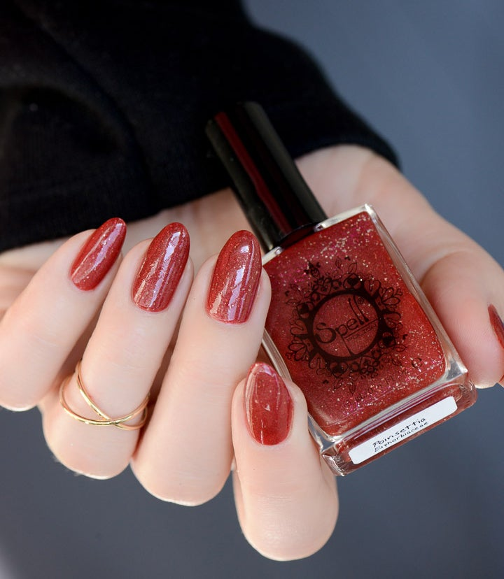 Image of ~Poinsettia~ deep red scattered holo with silver flakes & microglitters!
