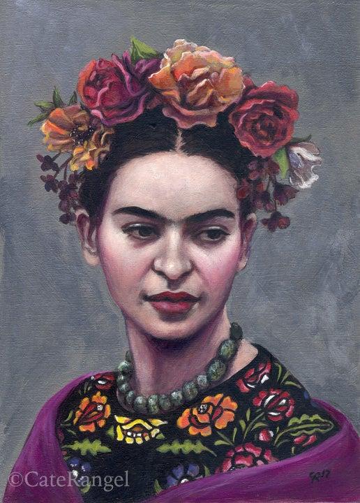 Image of Frida with Black Huipil - Special Edition Hand-Embellished Canvas Print (unframed)