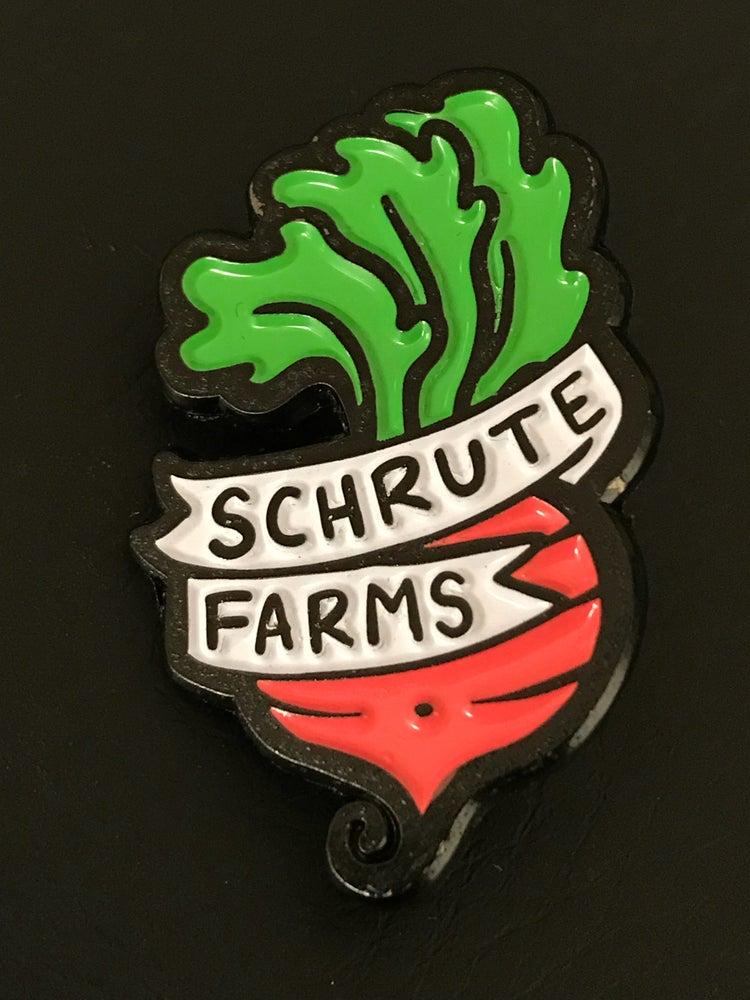 """Image of Shrute Farms Enamel Pin 1 1/2"""""""