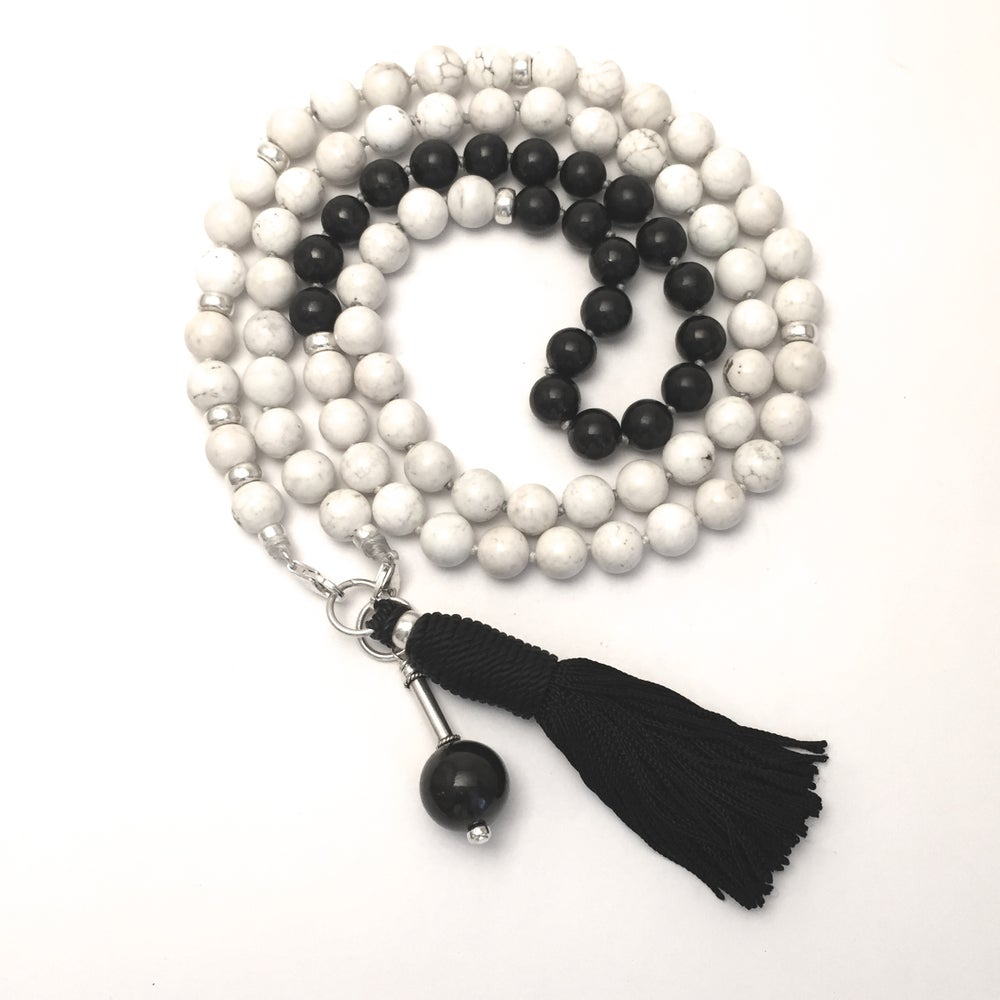 Image of Howlite Double Infinity Mala 88 with Shungite Collar