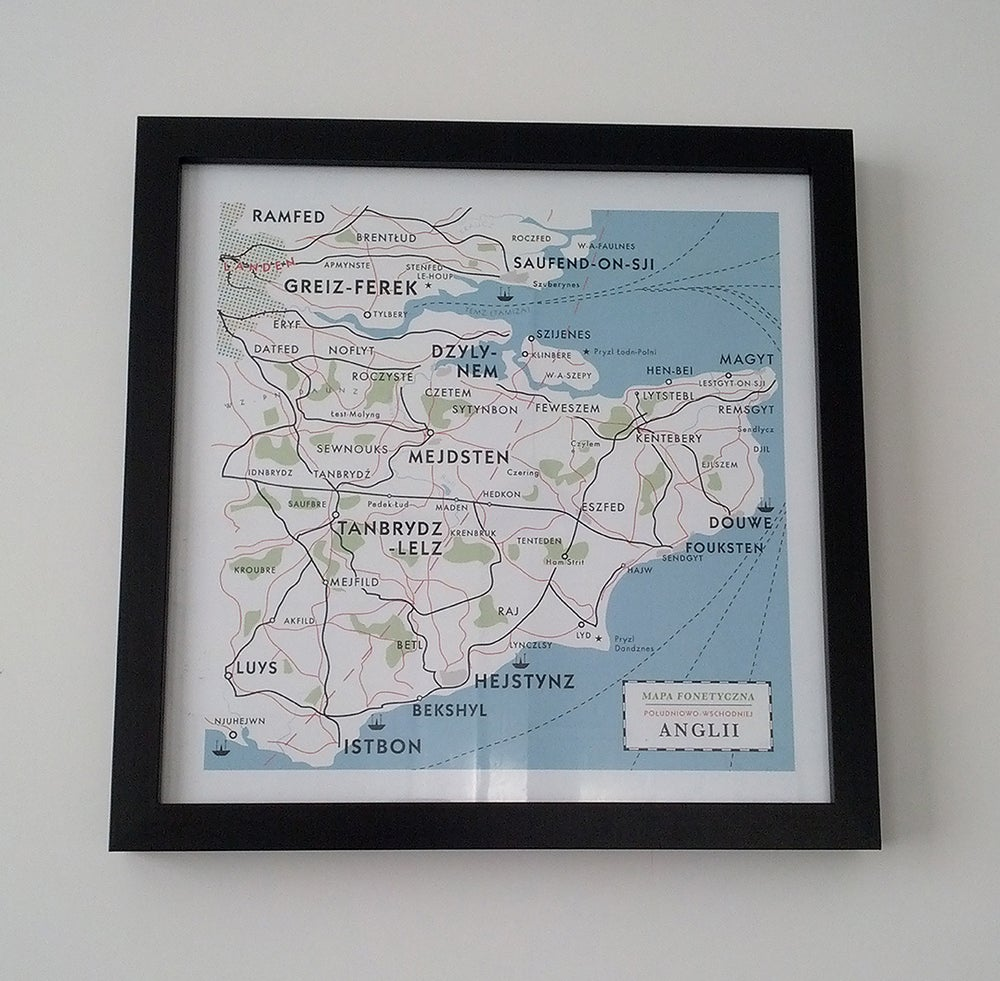 Image of Map of Kent Print - Polish phonetic map from Cold War era
