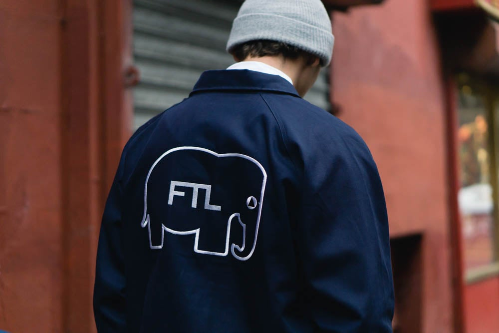Image of NYC Scape Cotton Canvas Jacket (Navy)
