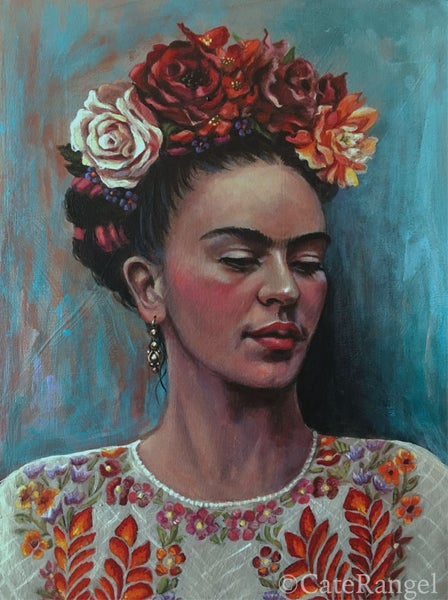 Image of Frida with White Huipil - Open Edition Print