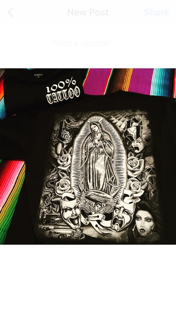 Image of %100 TATTOO VIRGIN MARY COLLAGE TEE SHIRT
