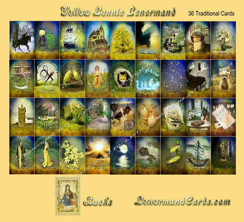 Image of Yellow Lennie Lenormand deck-36 Traditional Cards (also other sizes and options)