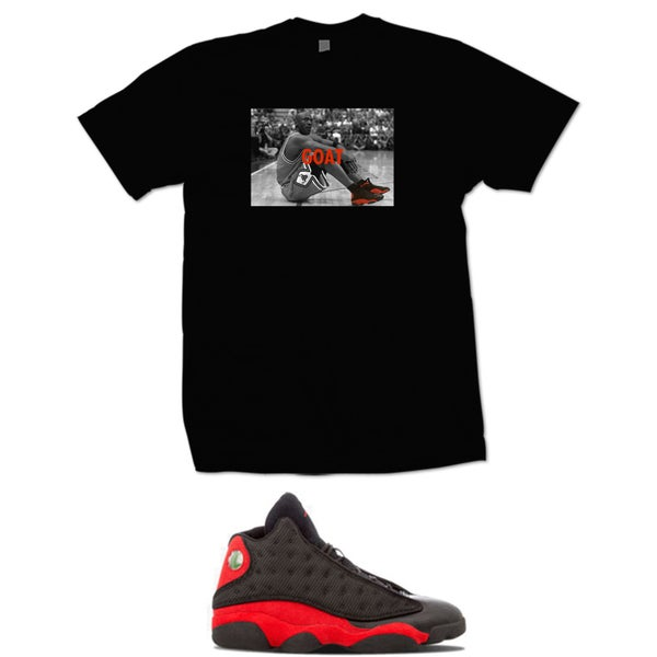 Image of MJ GOAT retro 13 bred t shirt - black