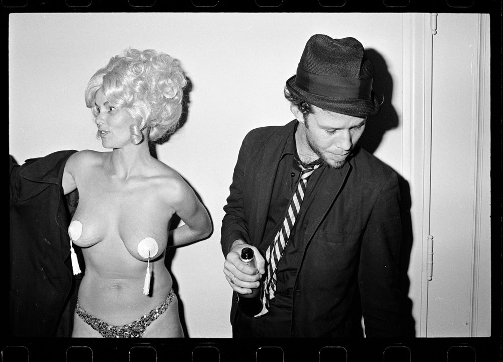 Image of Tom Waits and a burlesque dancer Los Angeles  1977