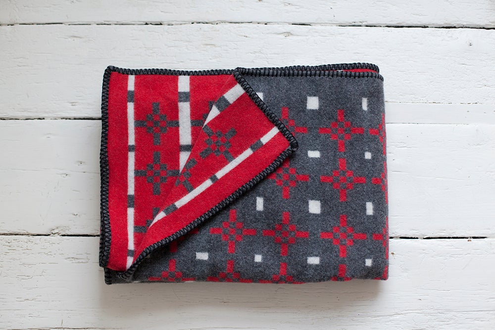 Image of Hygge Blanket - Charcoal/ Red