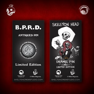 Image of Hellboy/B.P.R.D: Skeleton Head and B.P.R.D. Antiqued Logo pin set