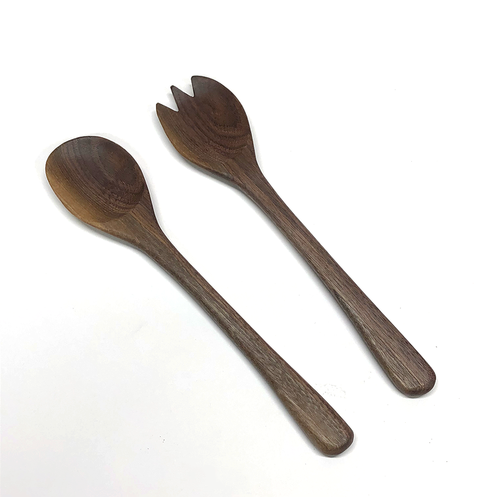 Image of 2 piece walnut salad serving set