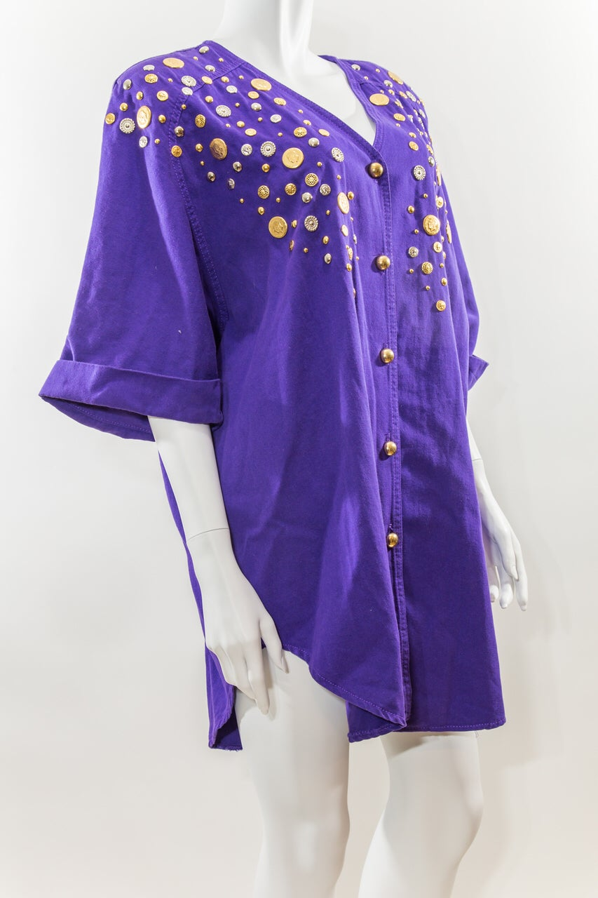 Image of Gold Embellished Oversized Shirt Dress