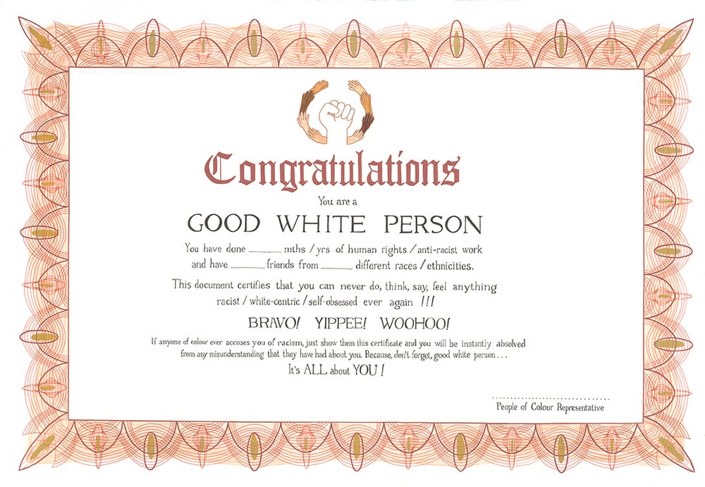 Image of Good White Person Certificate