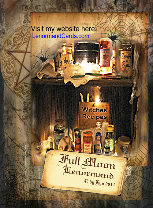 Image of FULL MOON Lenormand Deck - (50 cards) (Includes Traditional 36 Cards) Plus Spell Cards and Cat Card