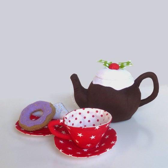 Image of Handmade Fabric 'Night Before Christmas' Themed Tea Set