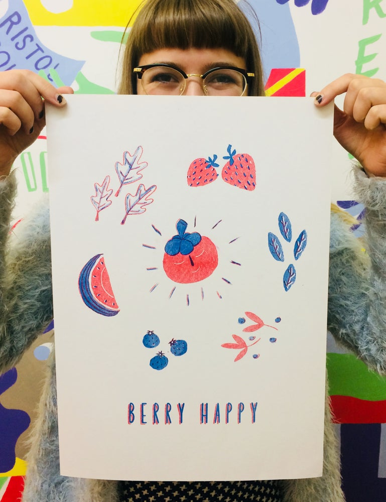 Image of Berry Happy A3 Riso Print