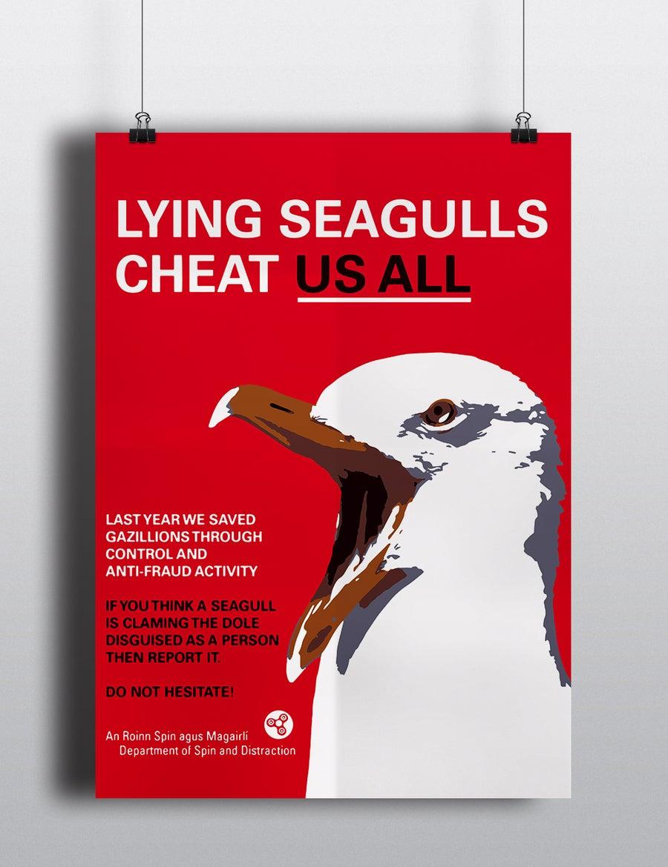 Image of Lying Seagulls Ort Print A3